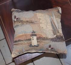 Beige Brown Lighthouse Print Decorative Pillow 13 x 12 - $14.95