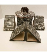 Vintage Besmo Hand Carved Kenya Bookends & Pot Set Zebra Design African ... - $82.87