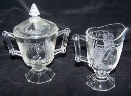VINTAGE Reproduction 1970's Baltimore Pear Clear Glass Creamer & Sugar B... - $9.99