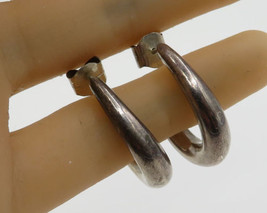 925 Sterling Silver - Vintage Puffy Oblong Stud J-Hoop Earrings - E2397 - $29.81