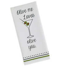 "Olive Me Loves Olive You Tea Towel Martini Dish Kitchen New Cotton 18"" x... - $13.85"