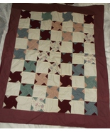 TWIN SISTER patchwork quilt burgundy cream green 41 x 51 throw lap new  - $45.00