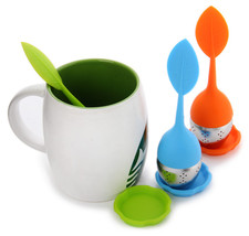 Silicone Handle Leaf Tea Infuser Steel Ball Strainer with Drip Tray - $8.74