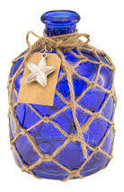 Cobalt Blue Round Glass Bottle with Jute Rope Netting and Starfish Accent - $39.76
