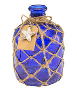 Cobalt Blue Round Glass Bottle with Jute Rope Netting and Starfish Accent - £29.18 GBP