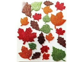 Retail Inc. Glittered Fall Leaves of Various Sizes Sticker Set