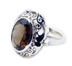 ideal Smoky Quartz 925 Sterling Silver Brown Ring genuine gemstone US - $59.39