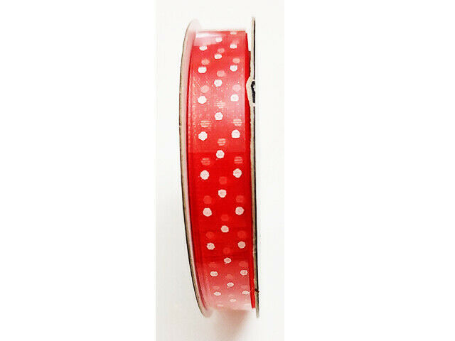 """Hobby Lobby Ribbon Boutique Sheer Red with White Polka Dots Ribbon, 3/8"""" x 15 Ft"""
