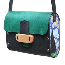 Genuine Leather Shoulder bag, Van Gogh's Starry Night Acrylic Painting - $90.00