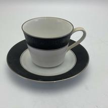 Noritake Japan Black And White  Venezia 2280 Tea Cup And Saucer Set - $10.99
