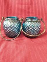 Set of 2 Yankee Candle Hanging Glass Lanterns Vase Candle Holder W/Handl... - $23.36