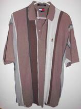 Tommy Hilfiger Polo Shirt X-LARGE Men Brown Tan White Striped Cotton Top - $22.76