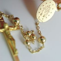 Yellow gold Necklace Rosary 750 18k Miraculous Medal Cross 63 cm Made in Italy image 4