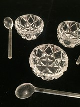 Vintage 50s tiny glass Salt Bowls and Spoons set (Made in Czechoslovakia) image 1