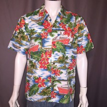Royal Creations Hawaiian Shirt Floral Cruise Ship Palm Tree Size Men's M... - $24.95