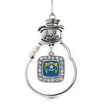 Inspired Silver Nevada Flag Classic Snowman Holiday Christmas Tree Ornament With - $14.69
