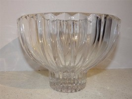 Console Center Bowl Glass Large Heavy Vertical Ribbed Cuts Footed Crystal - $45.54