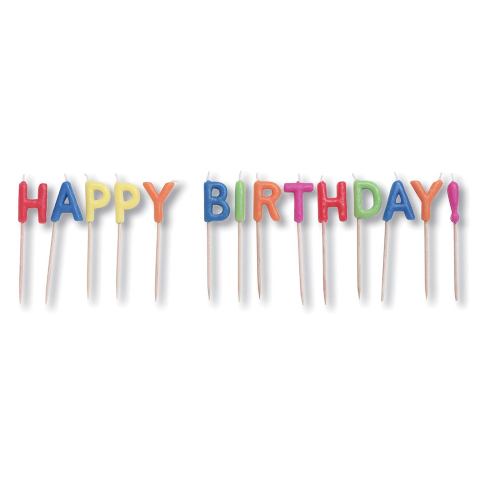 "Pick Letter Sets 3"" Candles Happy Birthday Brights, Case of 12"