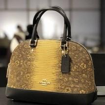 COACH F73059 Lizard Leather Mini Sierra Satchel Crossbody Bag Mustard - £143.27 GBP