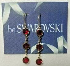 Vintage Swarovski Elements 10K Gold Plate Dangle Earrings Ruby Red Stones - $11.88