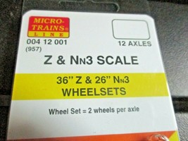 """Micro-Trains Stock # 00400412001 (957) 36"""" Z & 26"""" Nn3  Wheelsets 12 Axles Pack image 2"""