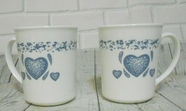 Set of Two  Corning Ware White Blue Sponge Heart Mugs 8 oz - $9.52