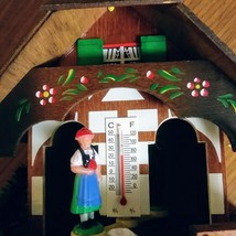 German Weather House with Black Forest Couple and Thermometer Hand Painted Flowe image 3