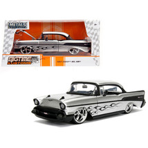 1957 Chevrolet Bel Air Silver with Flames 1/24 Diecast Model Car by Jada... - $35.79