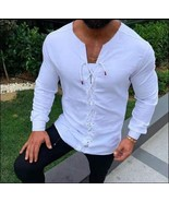 Early Norseman Medieval Viking Laced Up Long Sleeve White Tunic Shirt - $58.95