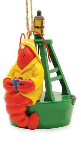 Primary image for Red Lobster Fisherman on Bell Buoy with Gift Nautical Christmas Holiday Ornamen
