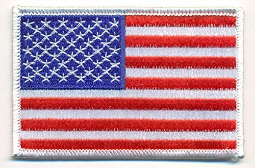 "American Flag Embroidered Iron On Patches Hat Jersey 3 1/2"" x 2 1/4"""