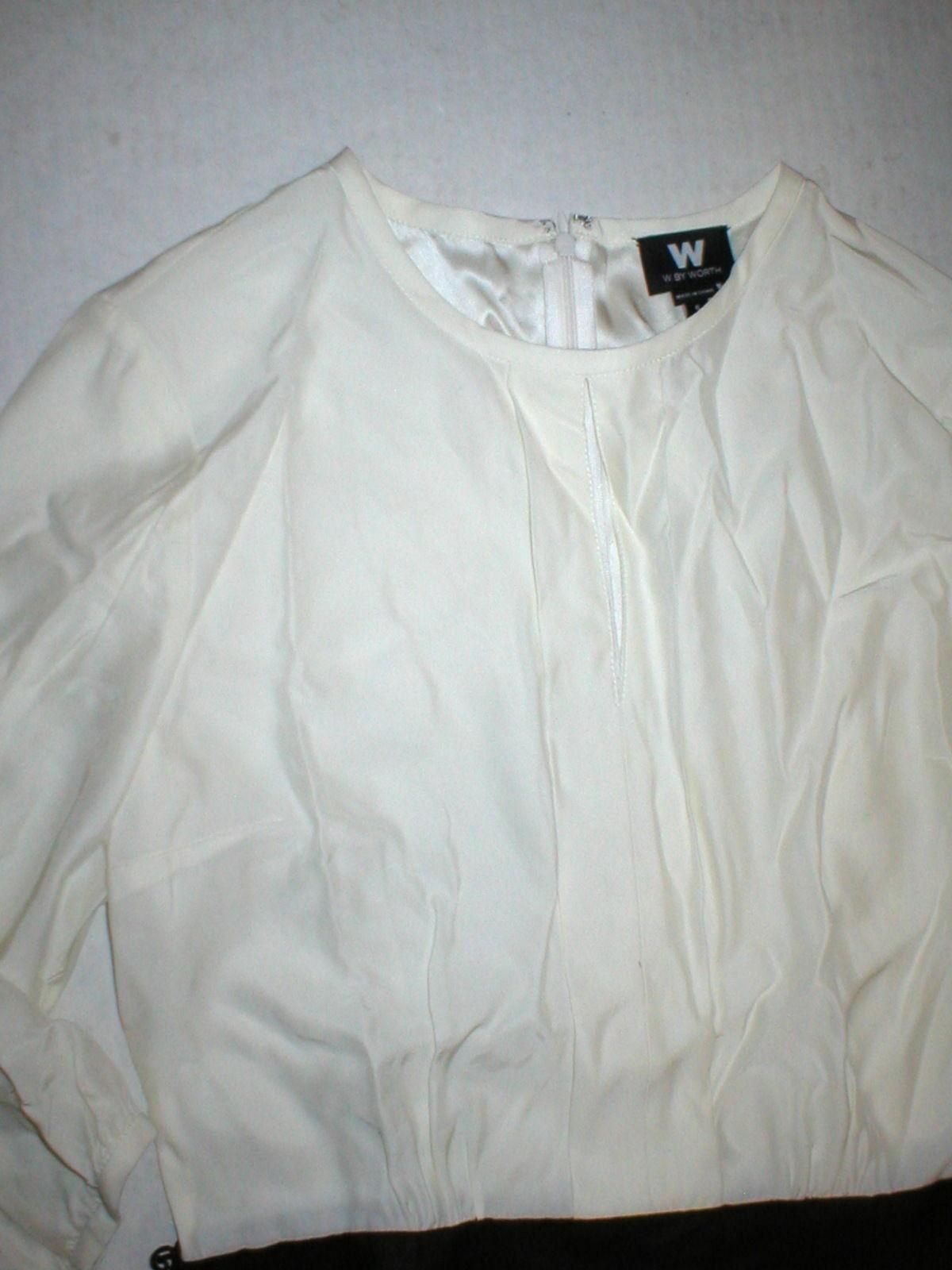 Womens NWT $398 Worth New York 6 Dress Brown White Silk Tencel Colorblock Office image 4