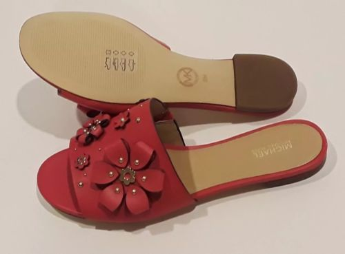 11badcaa11b Michael Kors Tara Floral Embellished Leather Slide Size US 8   EURO 38
