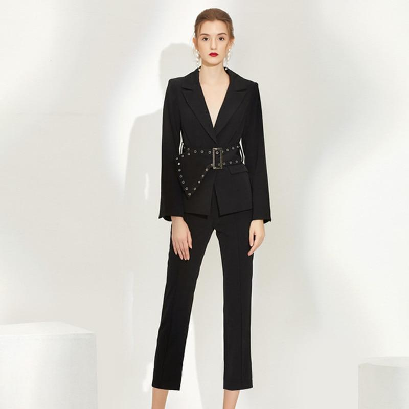 Women pants suits set for work ol ladies office work blazer jacket with belt pencil pants