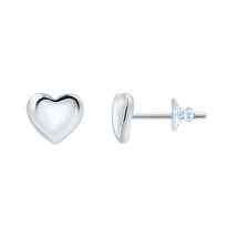 Pure Silver Plain Metal Heart Stud Earring Rhodium Finish For Girls & Wo... - $36.00