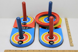 Vintage 1979 Pressman Toy Ring Toss Game Tin Litho Plastic Rings Double ... - $12.64