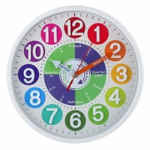 CIGERA 12 Inch Educational Wall Clock for Kids with Silent Movement and ... - $36.88