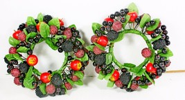"Two Berry Apple Holiday Wire Candle Wreaths Table Decor Fall Christmas 5"" - €26,42 EUR"