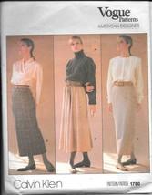 Vogue #1790 American Designer Calvin Klein Misses' Skirts - Size 10 - $12.00