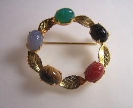 Vtg 1960 Art Deco Egyptian Revival Round Scarab Brooch Pin Carved Gem St... - $14.83