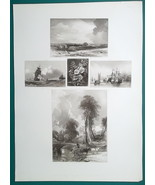 1847 Print Multiple Views - Norfolk Coast, Chatham Ships on Medway, Coll... - $21.60