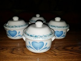 "4 Corelle Stoneware Blue Hearts Soup Chili Crock Bowl 4.5"" Individual Ca... - $18.80"