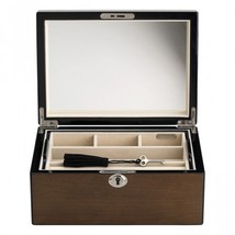 Reed & Barton Modern Lines Jewelry Box Chest Wooden Latte Mirror Drawer ... - $163.35
