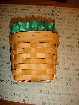 Longaberger Chives Basket With Protector And Homemade Shamrock Liner