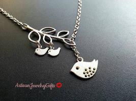 Mom Bird Baby Birds Branch Necklace Silver Mom Bird Gold Baby Birds Neck... - $42.00+
