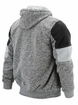 Men's Two Tone Sherpa Lined Moto Quilted Fleece Hoodie Jacket w/ Defect 2XL image 2