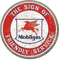 "Mobilgas Friendly Service 11.75"" Metal Round Sign Tin New Vintage Style ... - $10.29"
