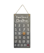 Primitive Metal Countdown to Christmas Calendar w/wood slice Snowman   - $24.95