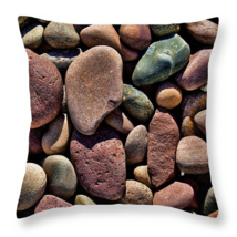 River Stones, Throw Pillow, fine art, seat cushion, accent, colorful rocks - $41.99+