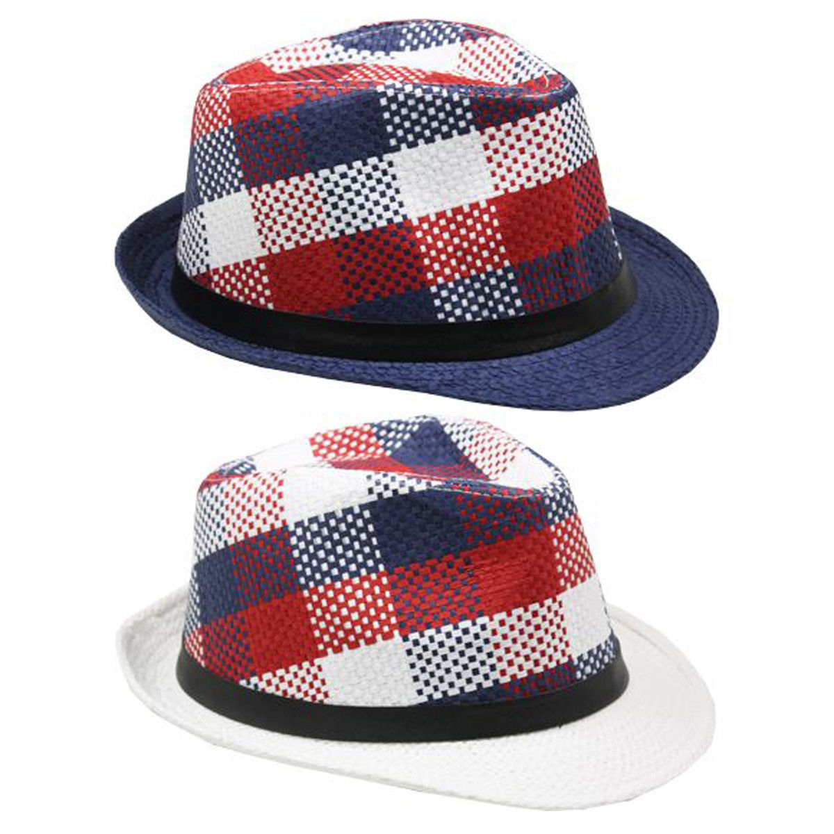 Modern American Flag Colors Fashion FEDORA HAT w/Retro Originals Novelty Trilby